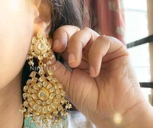 earrings, fashion, and jhumkas image