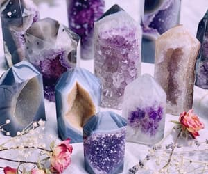 crystal, flowers, and purple image