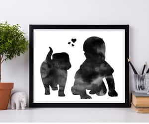 etsy, baby and dog, and puppy and baby image