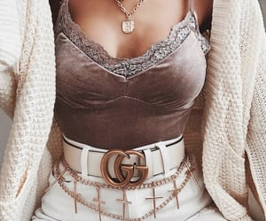 bodysuit, gucci belt, and necklace image