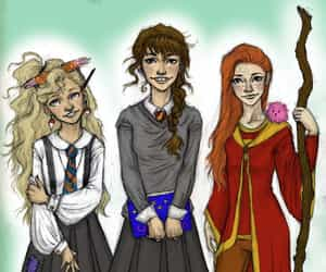 ginny, hermione, and potter image