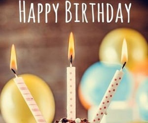 balloon, candle, and cupcake image