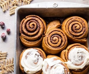 cinnamon rolls, food, and desserts image