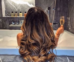 bath, brunette, and hair image