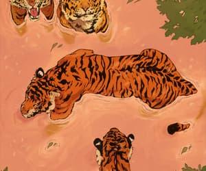 art, tiger, and orange image