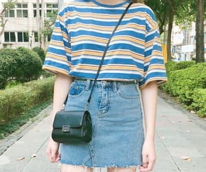 denim, outfit, and crop top image
