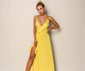 prom dress, yellow dress, and formal dresses image