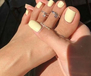 nailpolish, trendy, and toe rings image