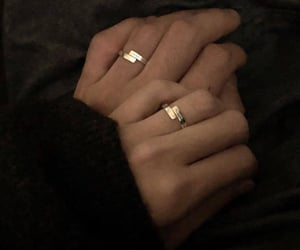 hands, couple, and rings image