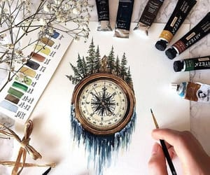 art, compass, and travel image