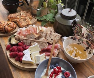 food, honey, and tea image