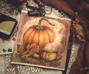 art, autumn, and cat image