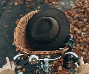 autumn, bike, and hat image