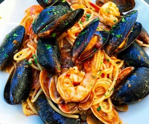 food, mussels, and pasta image