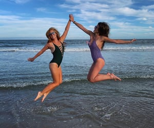 beach, best friends, and jumping image