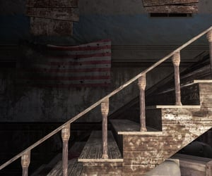 abandoned, brown, and flag image