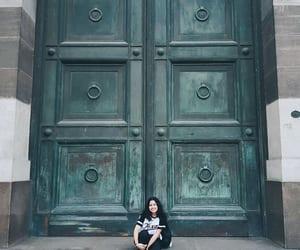 city, door, and girl image