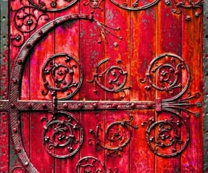 door, medieval, and red image