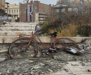 abandoned, small town, and bicycle image