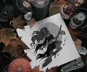 art, witch, and black and white art image