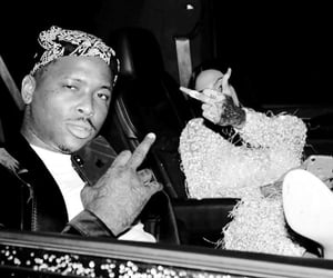 black and white, middle fingers, and yg image