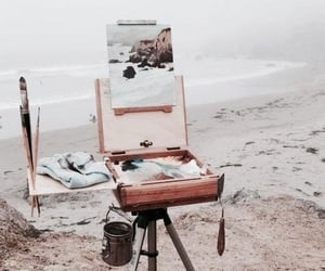 art, beach, and painting image