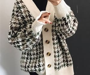 cardigan, knitted, and lattice image