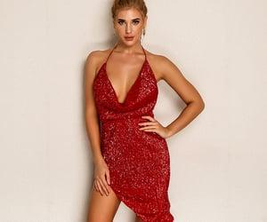 mini dress, red dress, and sequins dress image