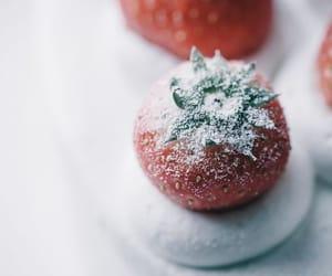 cream, strawberries, and powder image
