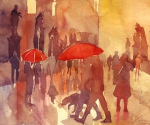 background, city, and umbrella image