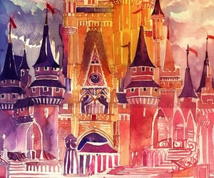 background, castle, and drawing image