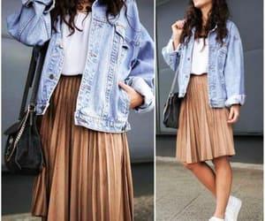 denim jacket and pleated skirt image