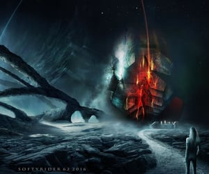 dark, fantasy, and planets image