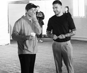 black and white, louis, and liam payne image