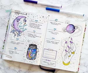 bullet journal, journal, and purple image