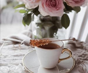 cup of tea, tea time, and flowers image