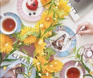 cake, cup of tea, and tea image