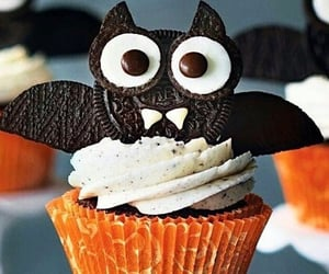 Halloween, bat, and cake image