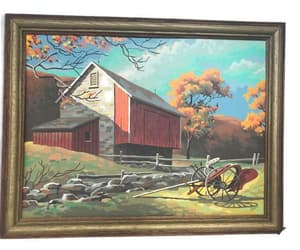 etsy, mid century, and framed painting image