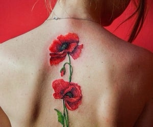 back, flower, and red image