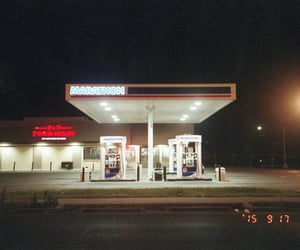 gas station, night, and vintage image