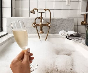 bathroom, room, and champagne image