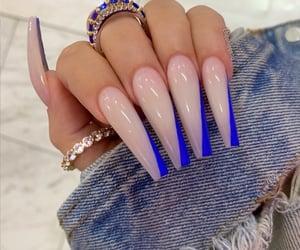 blue nails, long nails, and nude nails image