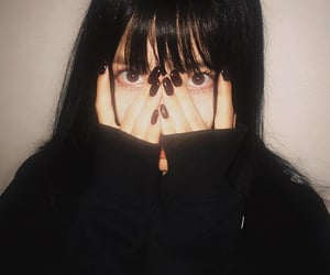 bangs, japanese girl, and black nails image