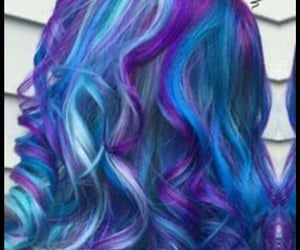 blue, blue hair, and curly hair image