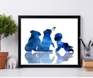 english bulldog, baby and dogs, and etsy image