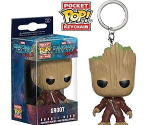 key chain, baby groot, and Marvel image