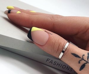 nail art, ring, and finger tattoo image