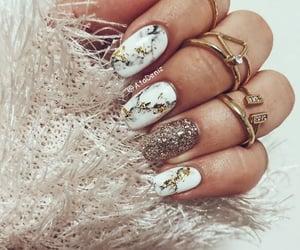 gold, marble, and nail art image
