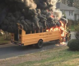 fire, bus, and school image